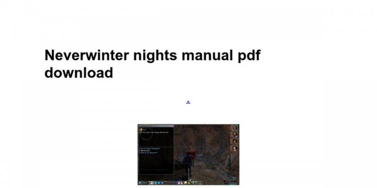 Neverwinter nights manual pdf